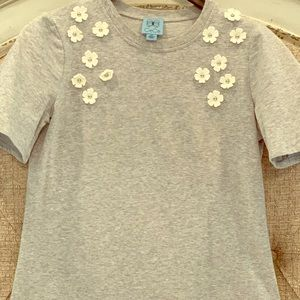 CeCe Embellished French Terry Shirt Dress XS